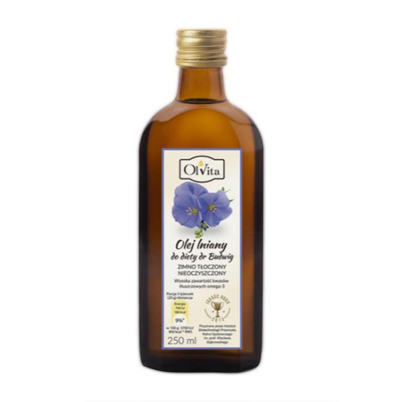 """Olej lniany tłoczony na zimno, do diety dr. Budwig 250ml / Ol""""Vita"""