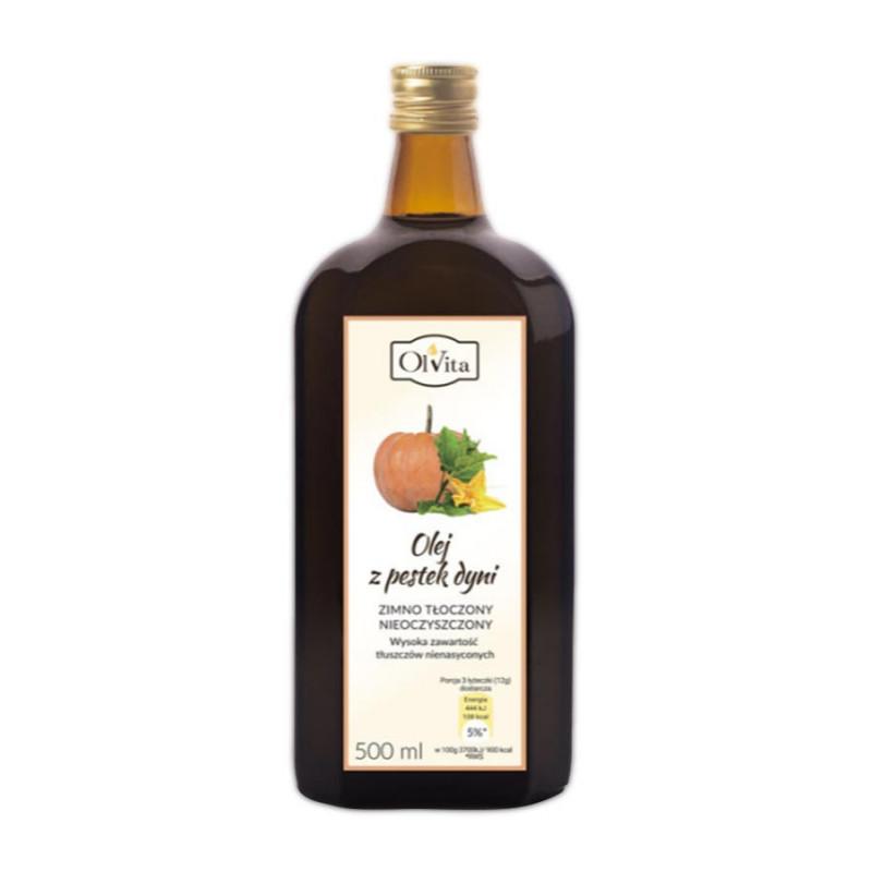 Olej z pestek dyni, nieoczyszczony, tłoczony na zimno olej dyniowy 500ml / Ol''Vita