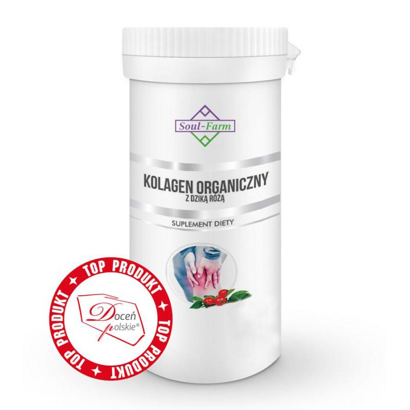Kolagen organiczny z dziką różą, 60 kapsułek PREMIUM / Soul-Farm