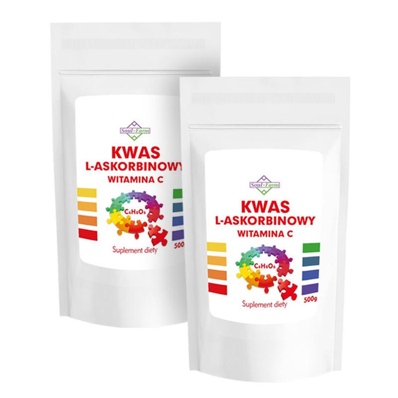 ZESTAW 2x kwas l-askorbinowy 500g, Soul-Farm