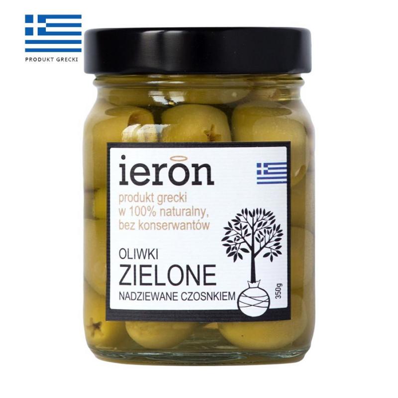 Oliwki greckie zielone nadziewane czosnkiem 360g, IERON